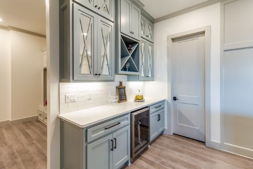 beautiful and stylish light blue cabinets in kitchen at carpenters darwin