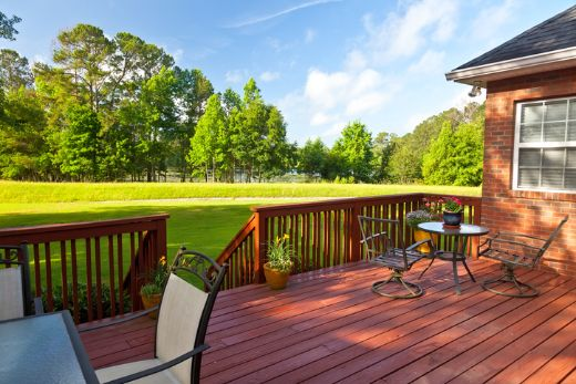 sand red backyard deck with shed at darwin carpentry